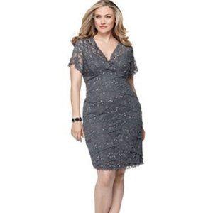ONYX Nite Marina Lace Sequin Cocktail Dress Grey